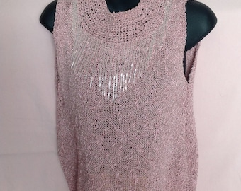 New Year's Eve Top Holiday Party Top Sleeveless Women's Top Dressy Top Knit Top Evening Wear