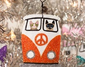 Orange Christmas Bus Clay Cat Folk Art Ornament