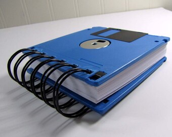 Floppy Disk Notebook JUMBO Sea Blue Computer Disk Recycled Geek Gear Blank Mini 125 sheets