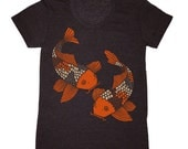 Womens Koi Fish T-shirt - Girls Tee Shirt Japanese Woodcut Pond Water Lily Garden Botanical Zen Yoga Buddhist Asian Bonsai Goldfish Tshirt