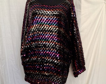 Fab Vintage 80's Multi Colored Sequined Black Tunic Sweater