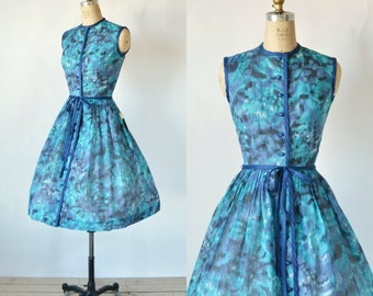 1950s Blue Floral Dress --- Vintage Stacy Ames Deadstock Dress