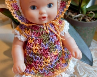 Crochet outfit Lauer Water Baby 12 13 inch baby doll Dress Set Bonnet