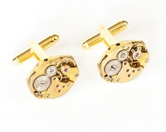 Steampunk Cufflinks with GOLD Perfectly Matched RARE Vintage Watch Movements Favre by Velvet Mechanism