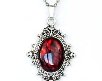Gothic Noir Vampire Victorian Style Antiqued Silver Filigree Frame Necklace with Dark Blood Red Paua Cabochon by Velvet Mechanism