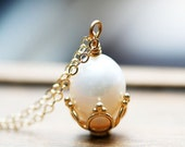 Pearl Necklace June Birthstone Fresh Water Pearl Necklace Solitaire Pearl Pendant, Wedding Necklace