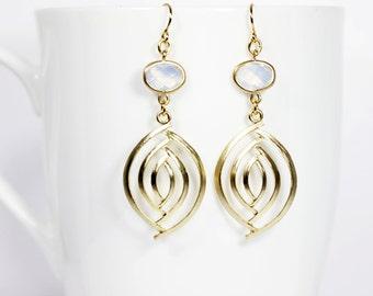 Spiral Dangle Earrings Opal And Gold Dangle Earrings