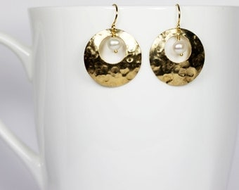 Gold Hoop Earrings Pearl Gold Hammered Hoop Earrings