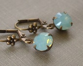 Pacific Blue Opal Rhinestone Earrings, Antique Brass Lever Back, Swarovski Crystal, Blue Opal Beach Earrings