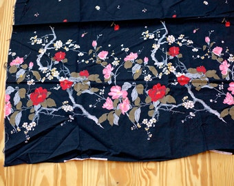 Vintage fabric border print - pink and red on black - floral flowers - Schwartz Liebman Textiles