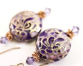 RESERVED : Bold Cloisonné Violet & Gold Earrings, OOAK, Free Shipping, LauraMaeJewelry