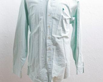 Men's Dress Shirt / Vintage Striped Green Oxford / Size 17.5–34 / XL XXL