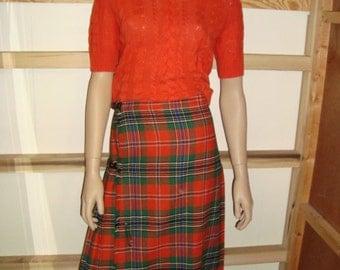 Scotch House Orange and Green Plaid Skirt Small