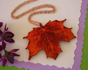 Copper Leaf Necklace, Real Leaf Necklace, Maple Leaf, Copper Maple Leaf, Sugar Maple Leaf LC59