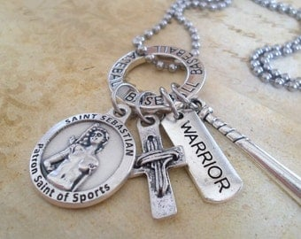 Baseball Warrior Charm Necklace, Boys Teens, St. Sebastian Patron Saint of Athletes and Sports, With God All Things Are Possible