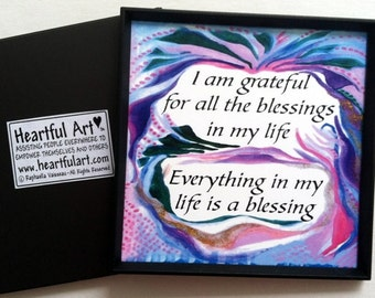 I Am GRATEFUL For BLESSINGS Inspirational Quote Motivational Print Gratitude Saying Spiritual Meditation Heartful Art by Raphaella Vaisseau