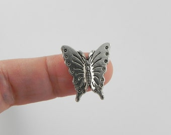 12 Butterfly Beads - Antiqued Silver - 20mm x 17mm - double sided
