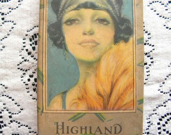 Antique 1920's Candy Box with Beautiful Flapper Girl on Lid Highland Chocolates