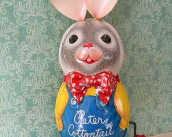 Large Vintage Peter Cottontail Easter Bunny Tin Litho Wind Up Musical Toy Mattel