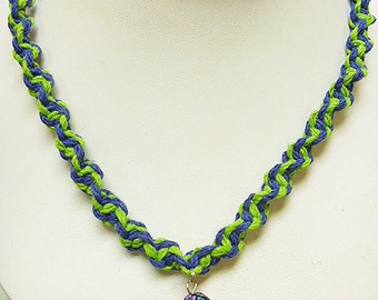 Glass Mushroon Hemp Necklace Blue Green Hemp  Necklace handmade macrame jewelry  womens  girls hippie  unisex