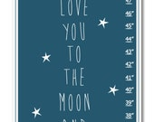 Children's Growth Chart - Nursery Art - I Love You To The Moon and Back Navy Personalized with name Growth Chart