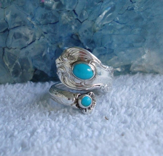 Vintage 2 Turquoise Towle Sterling Silver Spoon Ring Old Master dmfsparkles