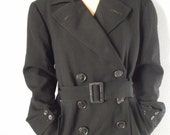 Vintage Trench Coat - BEST Quality - 1950s - Fully Lined - Double Breasted - Wool - Black - Unisex
