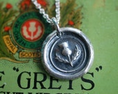 scottish thistle wax seal necklace pendant - outlander jewelry