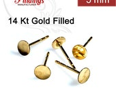 6pcs x Round Disc on Earrings include Ear Backs 14k Gold filled, Choose Your Diameter (9100GFV)
