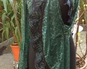 RESERVED FOR RENATE L ****Wood Elf Bolero Shrug Mesh w/ Leafs Darkblue Copper Iridescent lace Size M