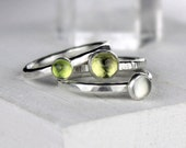 Stackable Gemstone Rings with Peridot, Moonstone, Lemon Quartz, Hammered Silver Stacking Rings