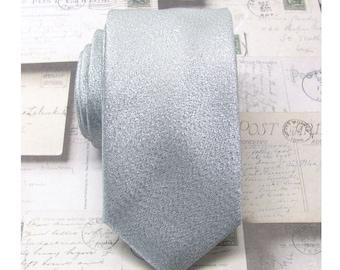 Mens Ties Necktie Lamé Silver Metallic Skinny Tie