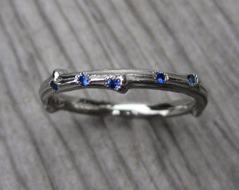 Sapphire Branch Wedding Band: White, Yellow, or Rose Gold, Ceylon Sapphires