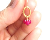 Simple Hot Pink Chalcedony Faceted Gemstone Minimal Delicate Vintage Gold Drop Dangle Earrings FREE SHIPPING World Wide