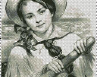 VINTAGE SAILING GIRL cross stitch pattern No.194