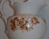 Vintage Brown Transferware pitcher by Etruria Mellor & Co. Brown Roses