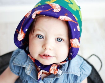 UB2  ALL THAT GLITTERS a richly jewel-toned sparkly, glittery, bird-y of a baby sun hat The Urban Baby Bonnet (all sizes)