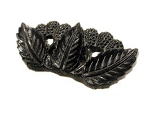 1930s Celluloid Pin, Black Fruit Brooch, Leaf Berry Pin, Early Plastic Jewelry