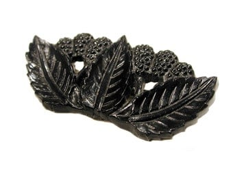 1930s Celluloid Pin, Black Celluloid Brooch, Fruit Brooch, Leaf Pin, Berry Pin, Early Plastic Brooch