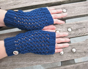 Miss Sailorette | Hand Knit Fingerless Gloves Blue Merino Wool with Anchor Buttons, Transitional Season - Ready to Ship