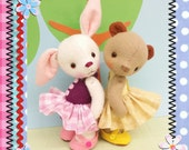 PDF E patterns for a bear and bunny BFF set