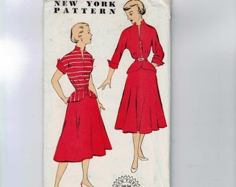 1950s Vintage Sewing Pattern New York 1055 Misses Two Piece Dress with Peplum Size 18 Bust 36  50s UNCUTD