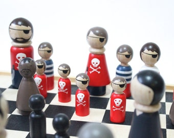 Wooden Chess Set Pirates vs. Ninjas // Unique Chess Set Peg Dolls Goose Grease