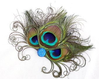 Blue Peacock Feather Fascinator - Bridesmaid Hair Accessory - Feather Head Piece - Hair Clip - Girls Dance Costume