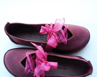 Handmade Leather shoes, CLARA, Vintage Inspired Shoes in Plummy perfection, pick a colour