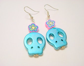 Turquoise and Pink Flower Topped Sugar Skull Day of the Dead Earrings
