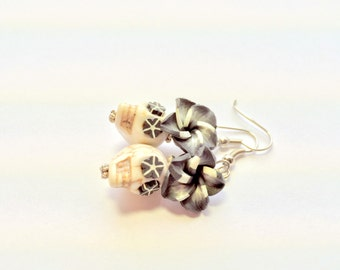 Black and White Flowers and Sugar Skulls Earrings