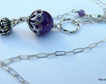 Necklace, Royal Daughter, Gemstones Purple Amethyst, Sterling Silver Cross & Crown, Rich Royal Color, Long Chain, Soulful, Sacred, Spiritual