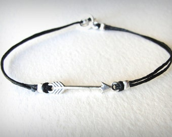 Arrow Bracelet Sterling Silver Arrow Linen Cord Casual Bracelet Pi Phi Arrow Ready to ship jewelry