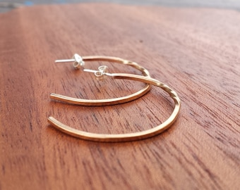 Hoop, Earrings, Classic, Bronze, Sterling, Silver, Small, Twist, Forged, goes with everything